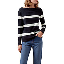 Buy Hobbs Ivanna Stripe Top, Navy/Ivory Online at johnlewis.com