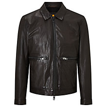 Buy HUGO BOSS Jacent Biker Jacket, Dark Brown Online at johnlewis.com