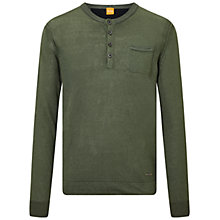 Buy BOSS Orange Kronost Linen Grandad Top, Dark Green Online at johnlewis.com