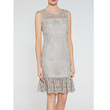 Buy Gina Bacconi Antique Foiled Lace Panelled Embroidery Dress, Taupe Online at johnlewis.com