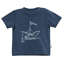 Buy Wheat Baby Paper Ship Organic Cotton T-Shirt, Indigo Online at johnlewis.com