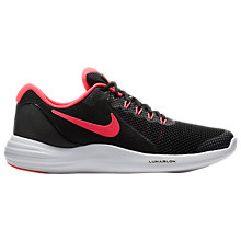 Buy Nike Children's Lunar Apparent GS Lace Up Trainers, Black/Pink Online at johnlewis.com