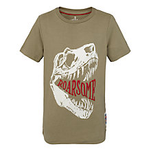 Buy Fat Face Boys' Roarsome Dinosaur T-Shirt, Pale Khaki Online at johnlewis.com