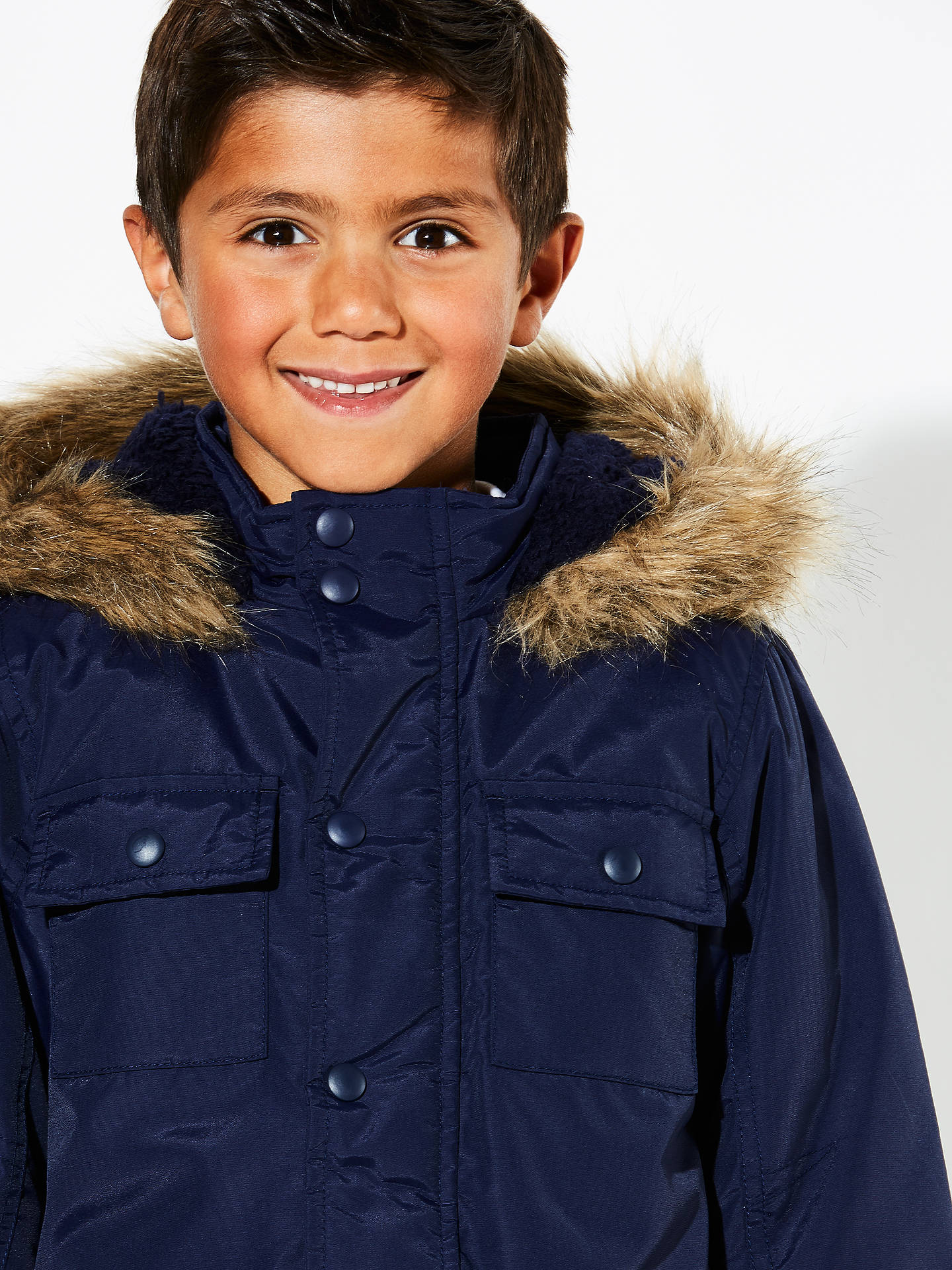 BuyJohn Lewis Boys' Explored Hooded Parka Coat, Navy, 2 years Online at johnlewis.com