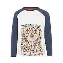 Buy John Lewis Boys' Owl Print Long Sleeve T-Shirt, Cream/Blue Online at johnlewis.com