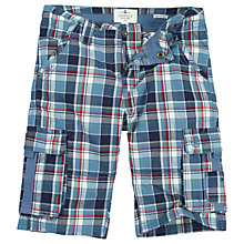 Buy Fat Face Boys' Sandbanks Check Cargo Shorts, Blue Online at johnlewis.com