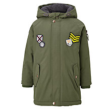 Buy John Lewis Boys' Badged Parka Jacket, Khaki Online at johnlewis.com