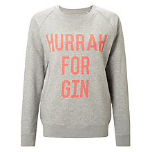 Buy Selfish Mother Hurrah For Gin Crew Neck Sweatshirt, Grey/Neon Orange Online at johnlewis.com