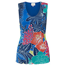 Buy East Carina Print Pleated Top, Ocean Online at johnlewis.com