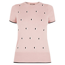 Buy Oasis Embroidered Spot Knit Top, Pale Pink Online at johnlewis.com