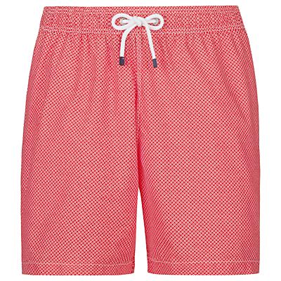 Hackett London Micro Geo Print Swim Shorts, Coral