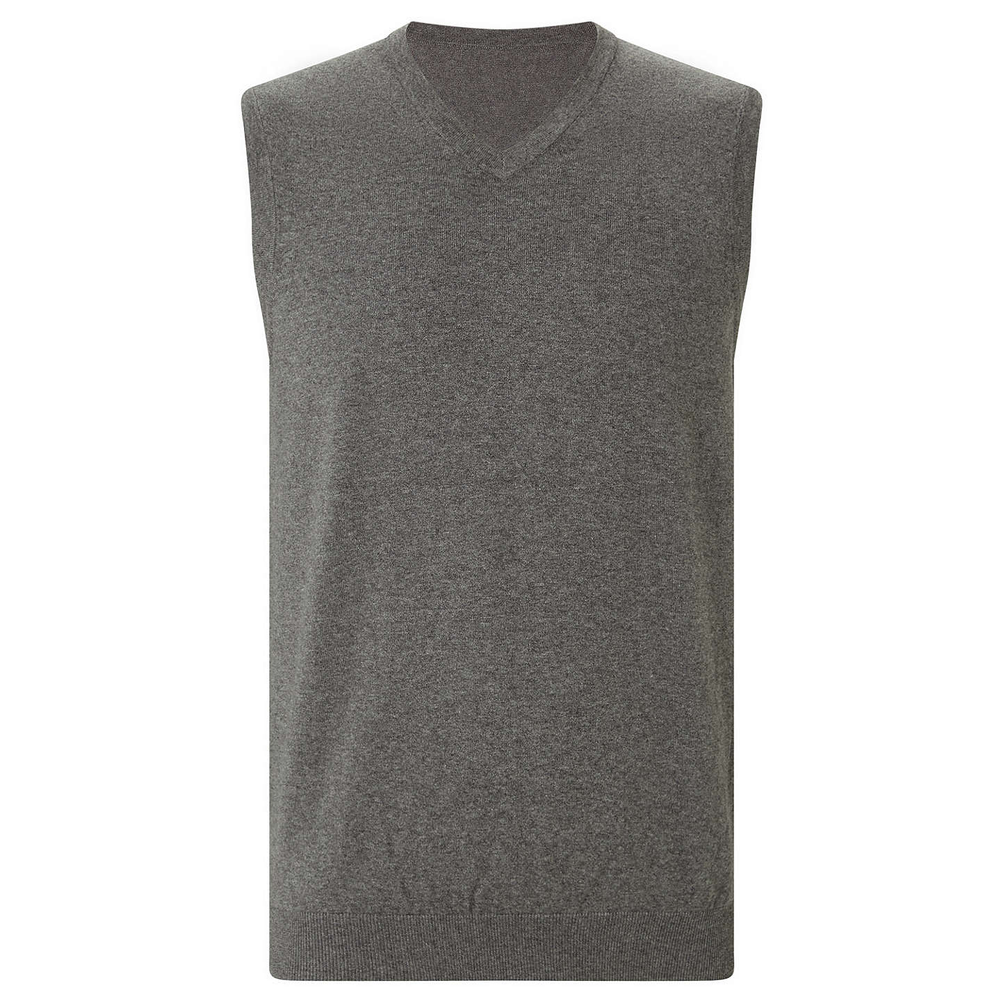 BuyJohn Lewis Cotton Rich V-Neck Tank Top, Charcoal, S Online at johnlewis.com