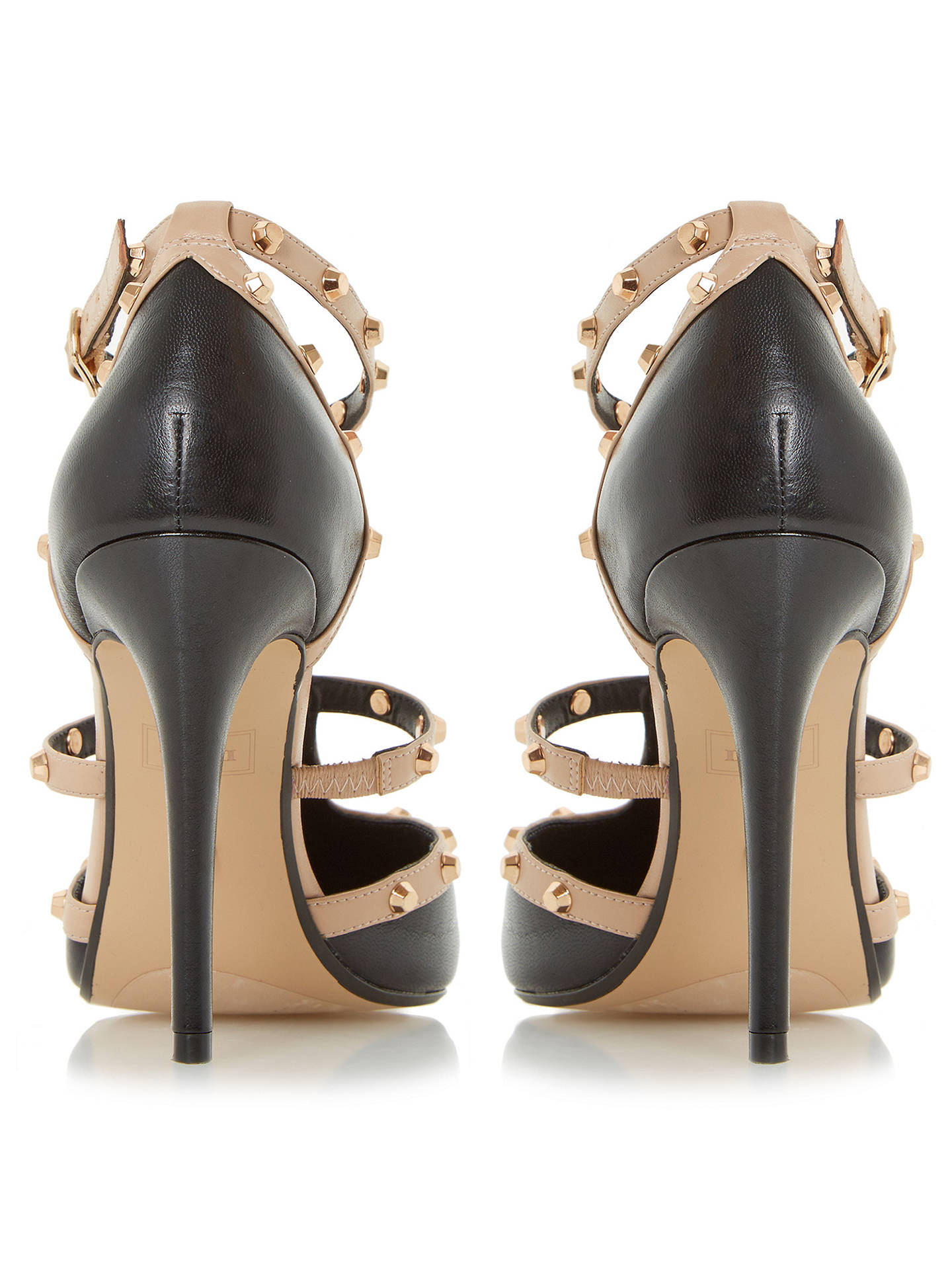 b35d57a87c9 Dune Daenerys Studded Cut Out Court Shoes, Black/Nude at John Lewis ...