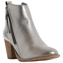 Buy Dune Pontoon Stacked Heel Ankle Boots, Pewter Online at johnlewis.com