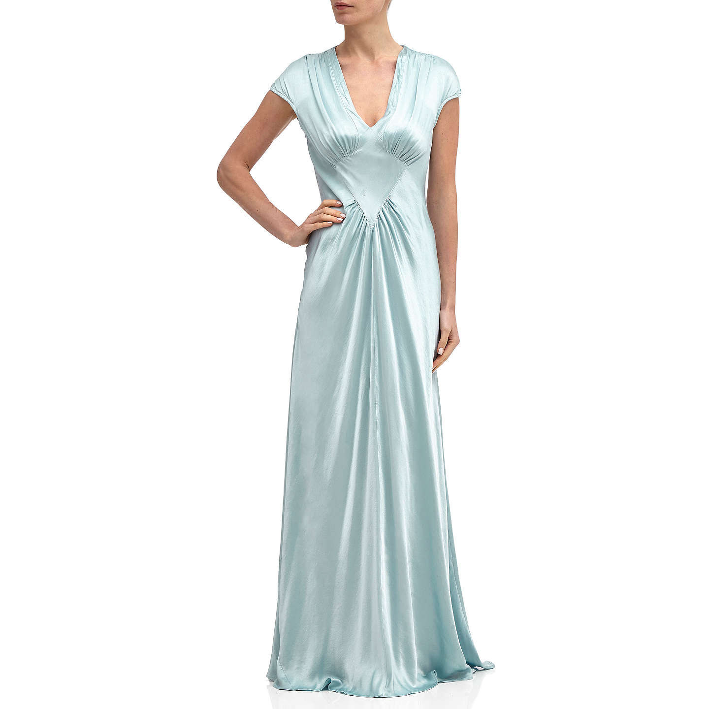BuyGhost Iris Satin Dress, Sky Light, M Online at johnlewis.com