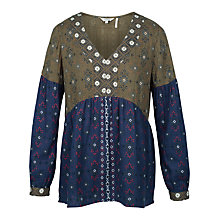 Buy Fat Face Stephanie Folk Geo Blouse, Navy Online at johnlewis.com