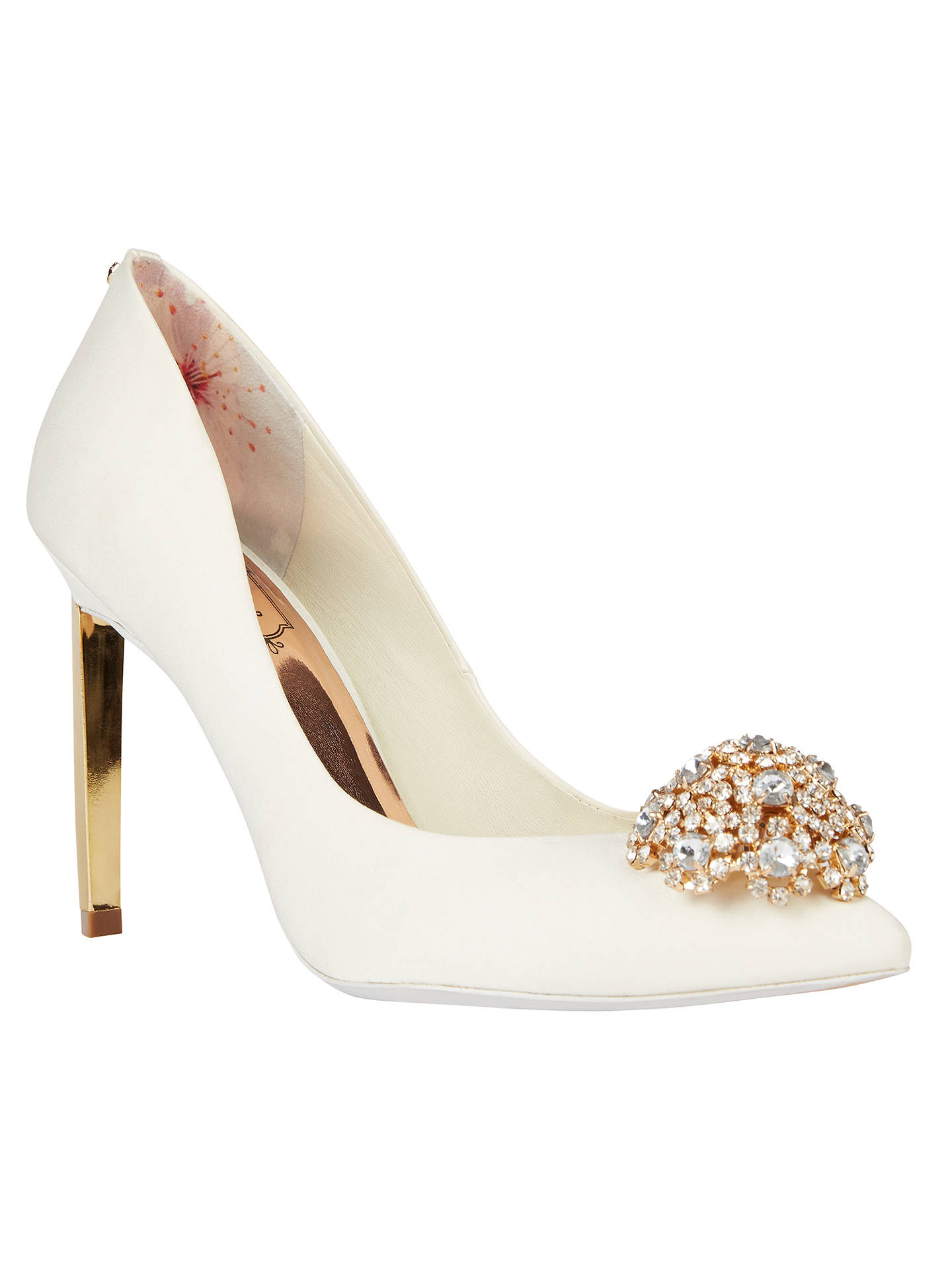 8da9210b978595 Buy Ted Baker Tie the Knot Peetch Court Shoes, Cream, 4 Online at johnlewis  ...