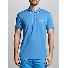 Buy BOSS Green Paddy Regular Fit Functional Polo Shirt, Medium Blue Online at johnlewis.com