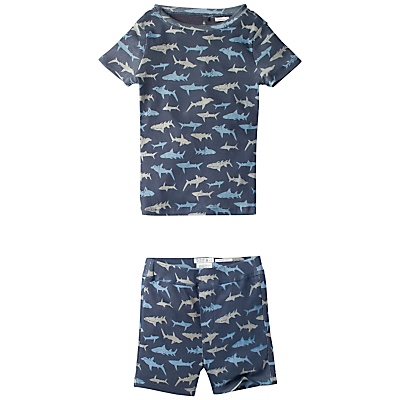 Fat Face Children's Shark Print Snug Shortie Pyjamas, Navy