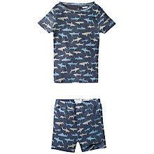 Buy Fat Face Children's Shark Print Snug Shortie Pyjamas, Navy Online at johnlewis.com