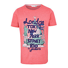 Buy John Lewis Boys' Cities Print T-Shirt, Red Online at johnlewis.com