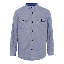 Buy John Lewis Boys' Ticking Stripe Long Sleeve Shirt, Blue Online at johnlewis.com