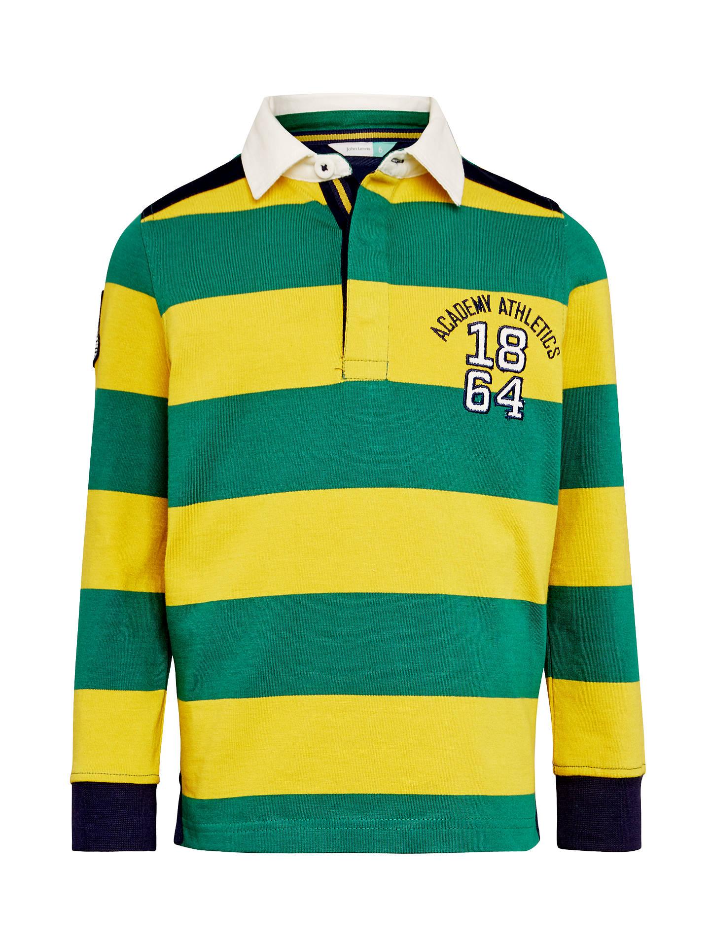 e043906222a John Lewis Boys' Bar Stripe Rugby Top, Green/Yellow at John Lewis ...