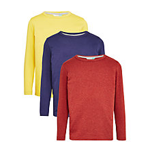 Buy John Lewis Boys' Long Sleeve T-Shirt, Pack of 3, Blue/Rust/Yellow Online at johnlewis.com