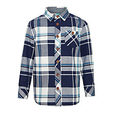 Buy John Lewis Boys' Oxford Check Long Sleeve Shirt, Blue Online at johnlewis.com