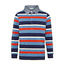 Buy John Lewis Boys' Multi Stripe Rugby Top, Red/Blue Online at johnlewis.com