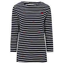 Buy Sugarhill Boutique Isla Heart Stripe Top, Navy/Cream Online at johnlewis.com
