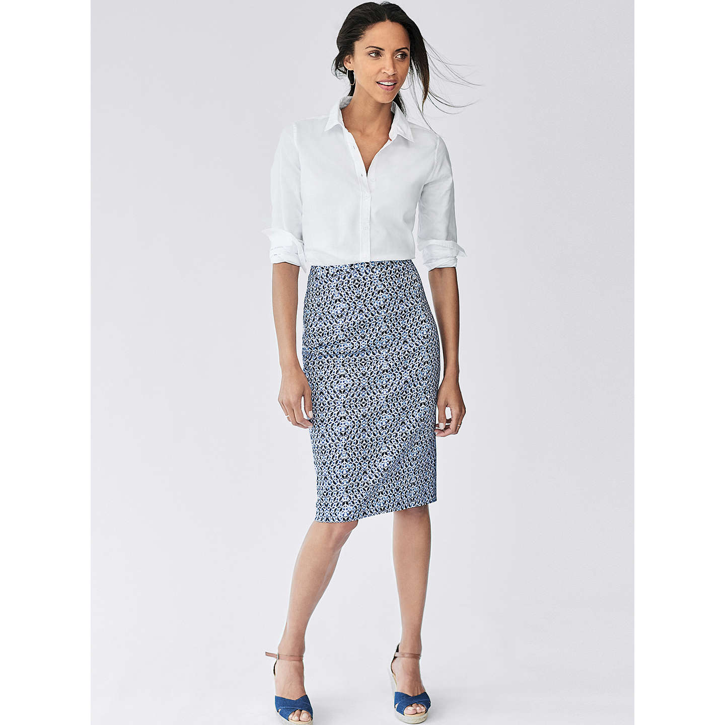BuyPure Collection Pencil Skirt, Blue Geo Print, 8 Online at johnlewis.com