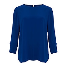 Buy Phase Eight Bettie Cuff Detail Blouse, Cobalt Online at johnlewis.com