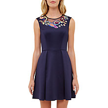 Buy Ted Baker Lavensa Folk Foliage Neoprene Skater Dress, Dark Blue Online at johnlewis.com