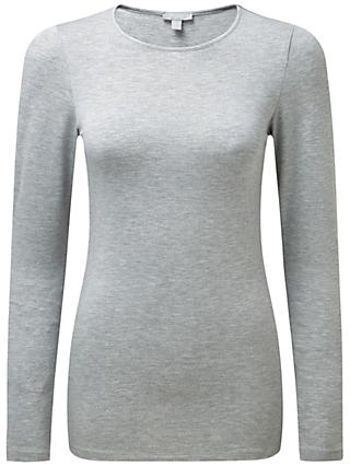 Pure Collection Soft Jersey Crew Neck Top, Light Grey Marl