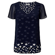 Buy Jacques Vert Layered Spot Print Top, Navy Online at johnlewis.com
