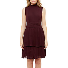 Buy Ted Baker Bradia Pleated Ruffle High Neck Dress, Maroon Online at johnlewis.com