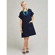 Buy East Bardot Neck Linen Dress, Soft Ink Online at johnlewis.com