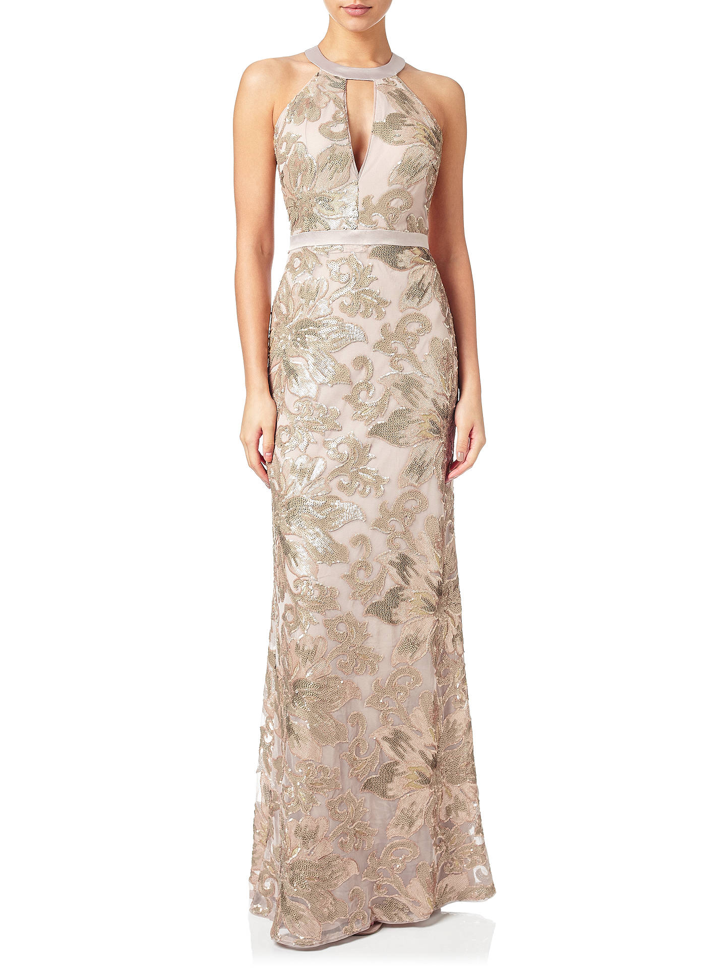 Adrianna Papell Embellished Halterneck Mermaid Gown, Rose Gold at ...