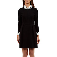 Buy Ted Baker Shealah Embroidered Collar Dress, Black Online at johnlewis.com