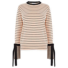 Buy Warehouse Striped Tie Cuff Jumper, Ecru Online at johnlewis.com