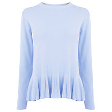 Buy Warehouse Frill Hem Jumper, Light Blue Online at johnlewis.com