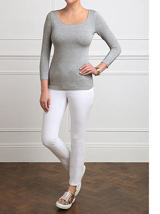 Buy Pure Collection Soft Jersey Scoop Neck Top, Light Grey Marl, 8 Online at johnlewis.com