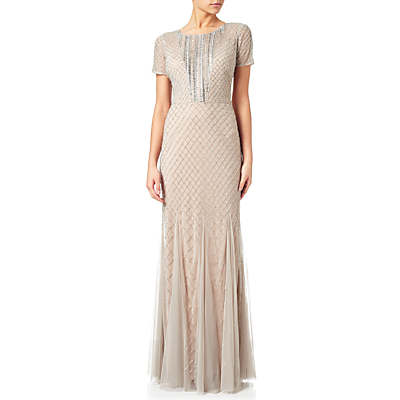 Fun 1920s Flapper Dresses & Quality Flapper Costumes Adrianna Papell Short Sleeve Beaded Gown SilverNude £320.00 AT vintagedancer.com