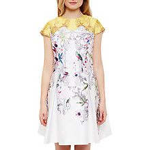 Buy Ted Baker Reliat Passion Flower Skater Dress, Yellow Online at johnlewis.com