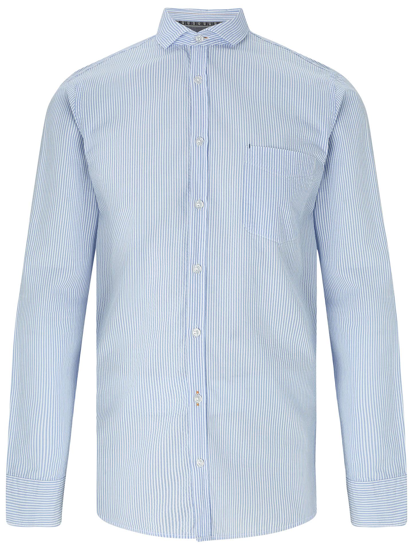 41be38e5b Buy BOSS Orange Cattitude Seersucker Stripe Slim Fit Shirt, Open Blue, S  Online at ...