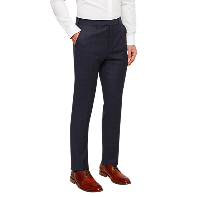 Ted Baker Dahlt Wool Check Tailored Suit Trousers, Blue