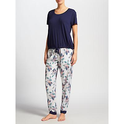 John Lewis Leila Short Sleeve Pyjama Set, Navy/Ivory