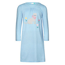 Buy John Lewis Children's Cat Print Long Sleeve Nightdress, Blue Online at johnlewis.com