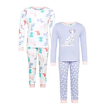 Buy John Lewis Children's Dog Print Pyjamas, Pack of 2, Purple/Multi Online at johnlewis.com